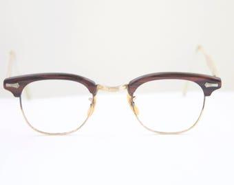 Windsor Optical Eyeglasses / USA 1950's / Woodgrain Gold filled Clubmaster style