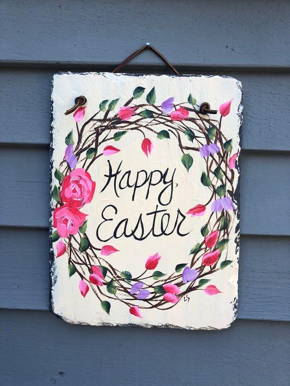 Easter Wreath, Easter Door hanger, Outdoor Easter Decorations, Painted Slate, Easter Decor, Spring door hanger, Easter Decor,