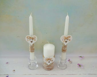 White Rustic Wedding Unity Candles, Romantic Unity Candles Set, Votive Candles, Burlap Wedding Pillar Candles, Rustic Chic Wedding Pillars