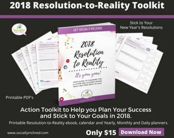 2018 Success & Goal Planner - New Years Resolution Planner - Printable Yearly, Monthly, and Daily Success Planning Calendar Pages