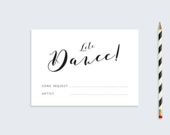Printable Song Request Card  |  Wedding RSVP  | A6 Calligraphy Song Request