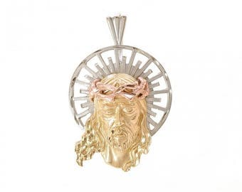 14K Tri-Color Gold Jesus Head Pendant with Rose Gold Crown of Thorns