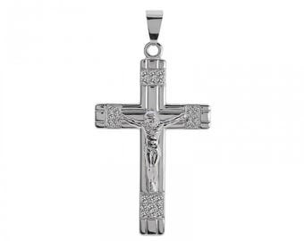 0.50 Carat Diamond Round Cut Jesus Crucifix Cross Pendant 14K White Gold