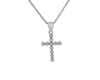 0.25 Carat Round Diamond Cross Pendant 14K White Gold