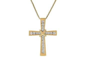1.25 Carat Invisible Set Round Cut Diamond Cross Pendant 14K Yellow Gold