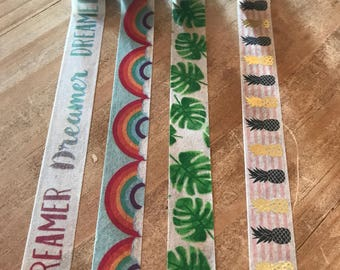 24 inch washi tape sample. Choose from rainbow, dreamer, tropical leaves or pineapple washi tape. Perfect amount to decorate with.
