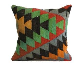 Anatolian Embroidery Woven Kilim Pillow 18x18 Navajo Pillow Boho Pillow Turkish Rug Pillow Kilim Kissen Turkey Pillow Rustic Pillow g295