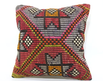 20x20 Decorative Kilim Pillow Sofa Pillow 20x20 Embroidered Kilim Pillow Naturel Kilim Pillow Bed Pillow Boho Pillow Home Decor SP5050-2171