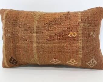 Anatolian Kilim Pillow Throw Pillow 12x20 Lumbar Kilim Pillow Floor Pillow Anatolian Kilim Pillow Sofa Pillow Cushion Cover SP3050-1489