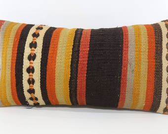 Anatolian Kilim Pillow Floor Pillow Ethnic Pillow 12x24 Vintage Kilim Pillow Handwoven Kilim Pillow Cushion Cover SP3060-1032