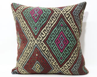 24x24 Decorative Kilim Pillow Embroidered Kilim Pillow 24x24 Handwoven Kilim Pillow Sofa Pillow Throw Pillow Cushion Cover SP6060-1238