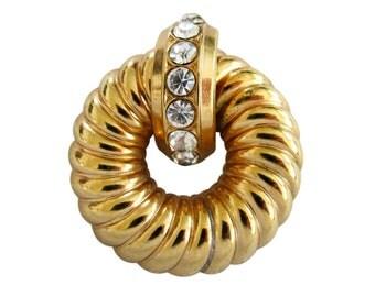 Vintage Coro Gold Tone & Rhinestone Fluted Brooch Pin