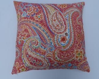 Paisly, red,coral,blue and yellow, Pillow Cover