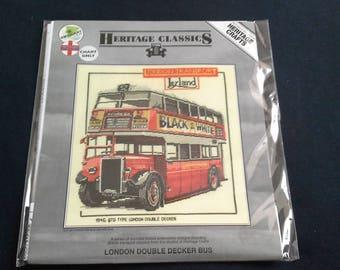Heritage crafts cross stitch chart London Double Decker Bus