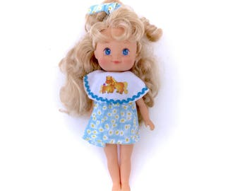 1994 Cititoy Vintage Doll Complete Dress Bow Blue Flowers Horses Ponies 90s Retro Kawaii Fairy Kei Chirere Cute Bonde Blue Eyes Rare