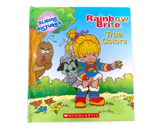 Vintage Rainbow Brite True Colors Book Magic Sliding Hardcover Magical Pictures Pull Out Slides Vibrant Kidcore Toywave 80s Original Rare