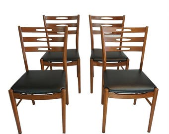 Set of 4 - Danish Modern Farstrup Eye Back Ladder Back Chairs