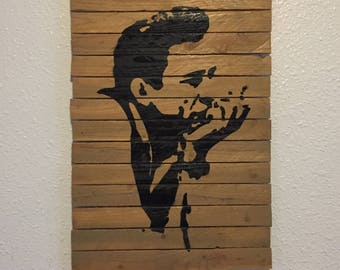 Handmade Johnny Cash Wood Wall Art