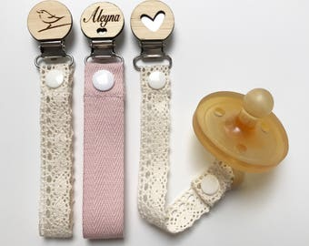 Petite Vintage Dummy Clip - Pacifier Clip - Baby Shower - Wooden Dummy Clip - personalised wooden Clip - Baby girl gift - Unique baby gift