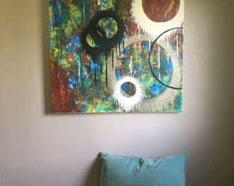 3ft x 3ft abstract oil painting