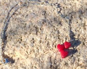 Pink & Glittery Triple Heart necklace