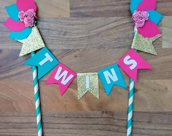 Flower Cake bunting, Personalised, Pink, Aqua and gold glitter, shabby chic, Cake topper, baby shower, Baby shower, personalized