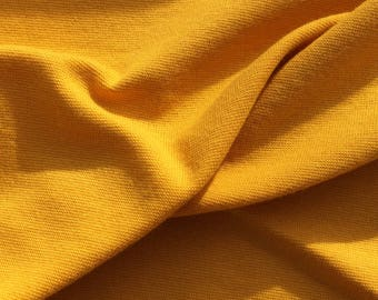 Cotton and Lycra Jersey, Mustard Yellow, Self-coloured