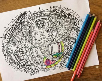 Adult colouring page, elephant coloring page instant digital download, intermediate adult colouring page animal art digital colouring page
