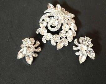 Vintage Eisenberg Ice clear rhinestone Brooch and Earrings.