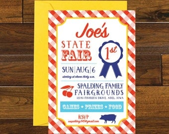 State Fair Party Birthday Invitation, County Fair Party Birthday Invitation, Digital Download