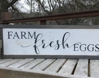 Farm fresh eggs,Wood sign saying,Farmhouse decor,Joanna Gaines Decor,Kitchen sign,Gallery wall art,custom wood sign,shabby chic art