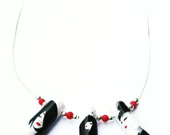 Serpentine and paper Bead Necklace