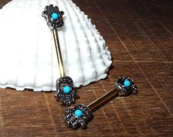 Fatima Hamsa hand nipple rings14guage/1.6mm bar length  9/16'' /14mm  gold dipped barbell surgical steel, nipple jewelry, turquoise ball