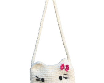 Kids purse, purse for kids, girl purse. knitted purse, gift for girl, gift for toddler, bag for kids, gift for baby girl. kitty purse, gift
