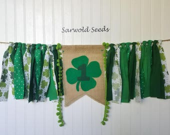 St Patricks Day Fabric Banner, Highchair, Cake Smash, Birthday, Photo Shoot, Back Drop