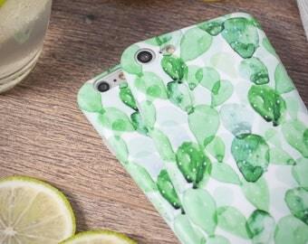 iPhone 7 Case iPhone Case 7 iPhone 8 Case iPhone Case 8 - Watercolor Succulent - Mojito Time ! - Nyucase - Soft Case Ultra slim - Matte