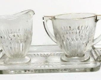 Vintage Pressed Glass Creamer and Sugar Bowl with Tray