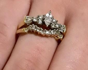 14 K Yellow Gold  Wedding & Engagement Set  Marquis Diamond and Baguettes .60 CTW  Bridal Set Size 7.5  Vintage Estate