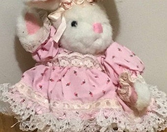 Vintage Ballerina Bunny Wearing a Lace Pink Dress and Ballerina slippers Easter Basket Gift Easter Decoration Plush Bunny