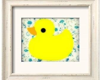 Rubber Ducky Art Print - Blue Flowers (8x10)
