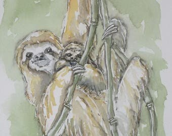 Sloth painting original art watercolour wildlife painting, an original painting of a three toed sloth and her baby