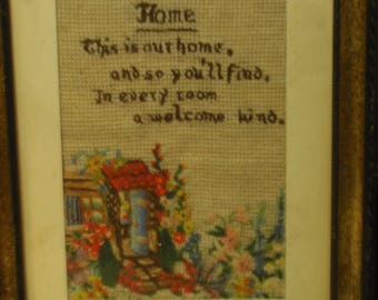 Vintage embroidery with Home theme