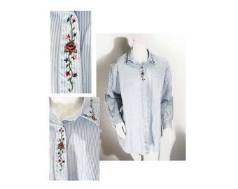Capacity Maternity, Size: Medium, Baby Blue Pinstripe Cotton Blouse with Embroidery, Long Sleeves, Button Cuff, Charming, Vintage Never Worn