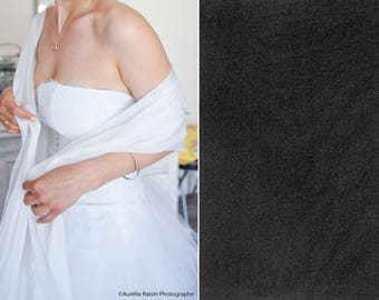 Large scarf (shawl, scarf) chiffon fluid and air, black color (black), wedding, ceremony, party, evening