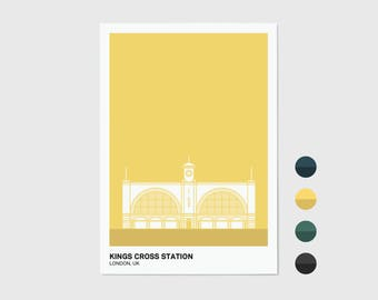 Kings Cross Station, London Print | London Artwork | London Illustration | Architecture Print | City Print