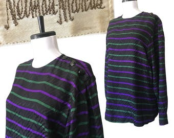 80s NEIMAN MARCUS Striped Silk Blouse — Medium