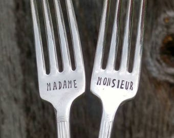 Monsieur Madame Wedding Forks / Wedding utensils / wedding gift / unique bridal shower gift / engagement gift / couple's gift / Impressions