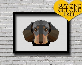 Cross Stitch Pattern Black Dachshund Pet Pattern Modern Home Decor Dog Face Geometric E Pattern Polygonal Cross Stitch Pattern
