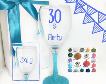 30th birthday for her, personalised 30th birthday gift for her, wine glass 30th birthday wine glass, 30th wine glass, dirty 30 wine glass