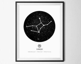 Virgo Constellation Print, Virgo Zodiac, Virgo Zodiac Print, Astrology Print Art, Virgo Star Sign, Zodiac Sign Art, Astrology Poster, Virgo